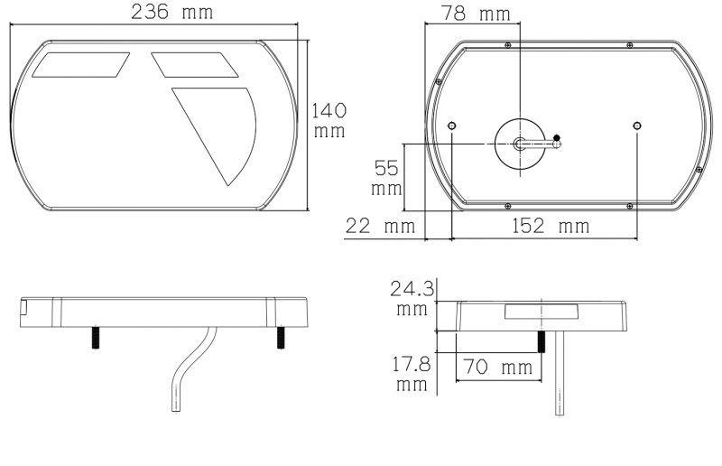 achterlicht 6 functies rechts 6 pin 12v