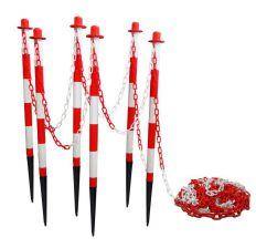 Kunststof kettingpalen set met grondpin Rood Wit