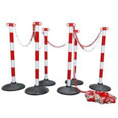 Kunststof kettingpalen set met rubberen voet Rood Wit