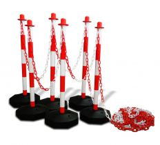 Kunststof kettingpalen set met vulbare voet Rood Wit